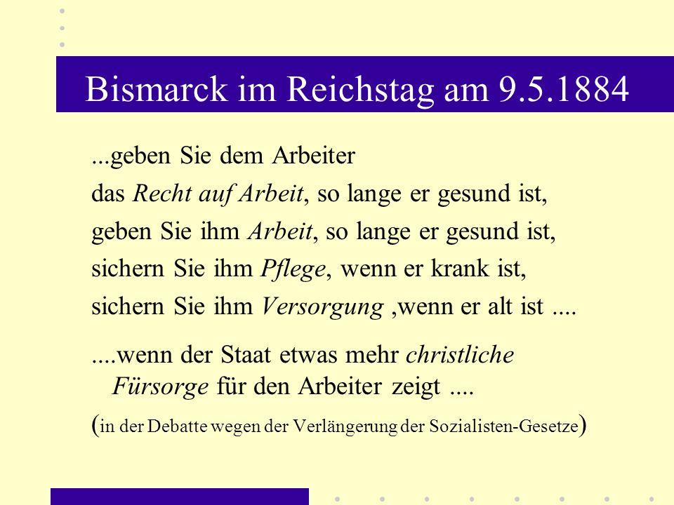 Bismarck im Reichstag am 9.5.1884
