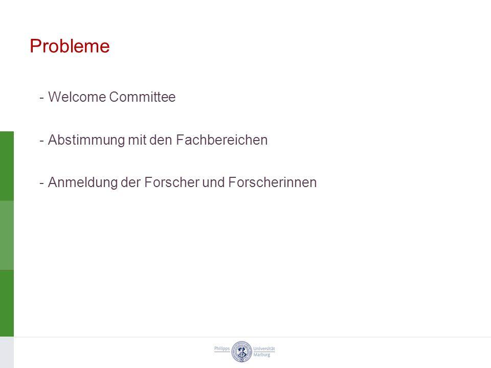 Probleme Welcome Committee Abstimmung mit den Fachbereichen