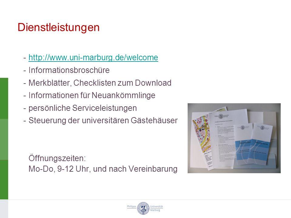 Dienstleistungen http://www.uni-marburg.de/welcome