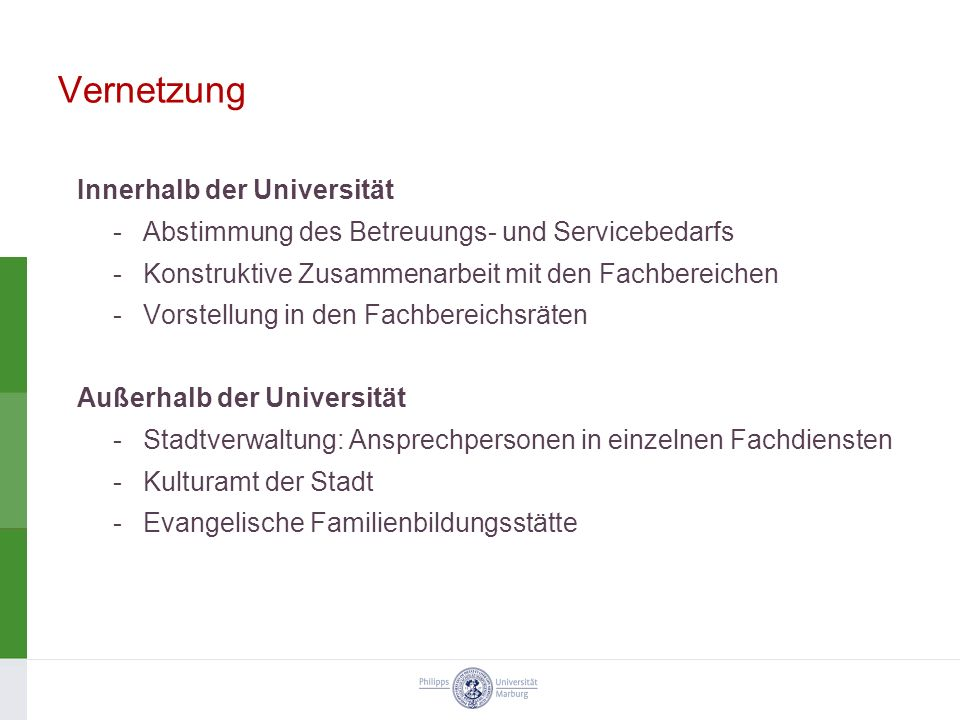Vernetzung Innerhalb der Universität