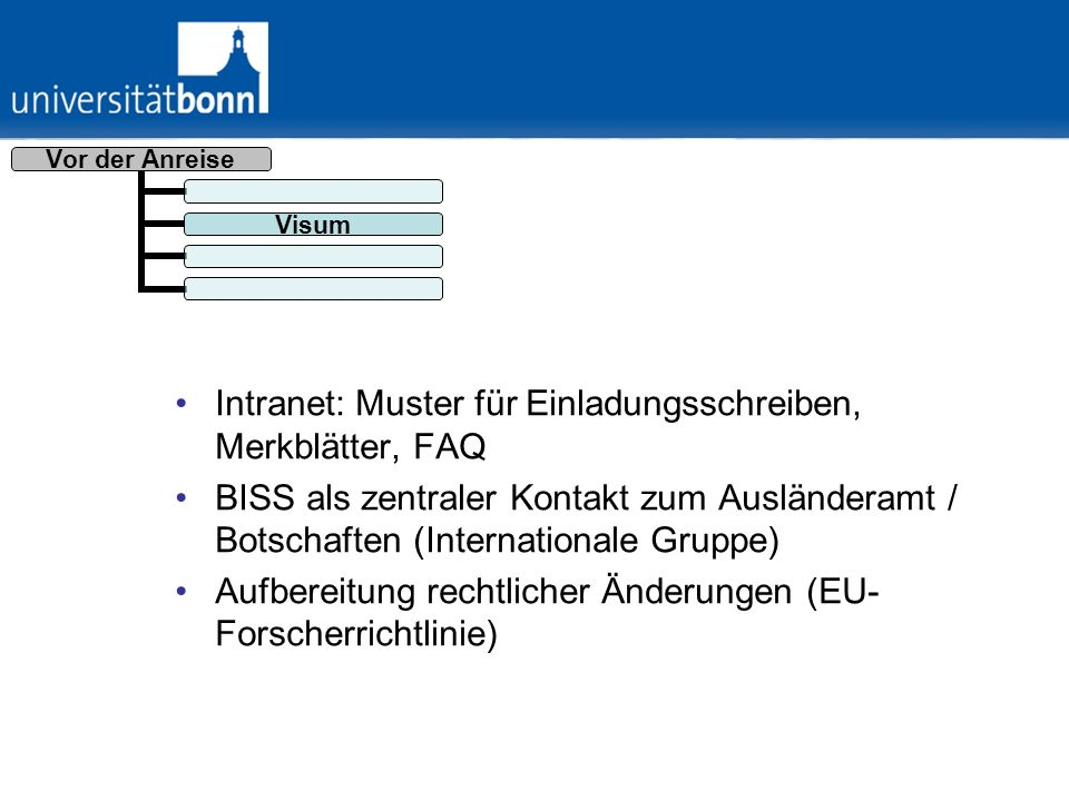 Intranet: Muster für Einladungsschreiben, Merkblätter, FAQ