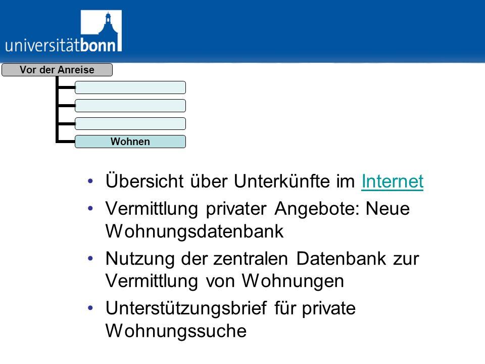 Übersicht über Unterkünfte im Internet