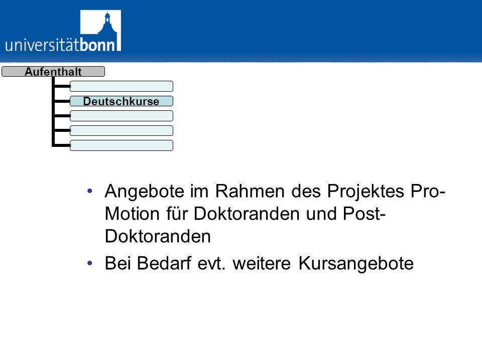 Angebote im Rahmen des Projektes Pro-Motion für Doktoranden und Post-Doktoranden