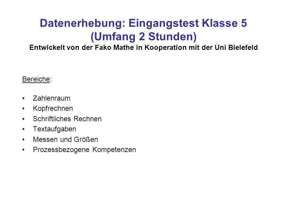 Datenerhebung: Eingangstest Klasse 5 (Umfang 2 Stunden) Entwickelt von der Fako Mathe in Kooperation mit der Uni Bielefeld