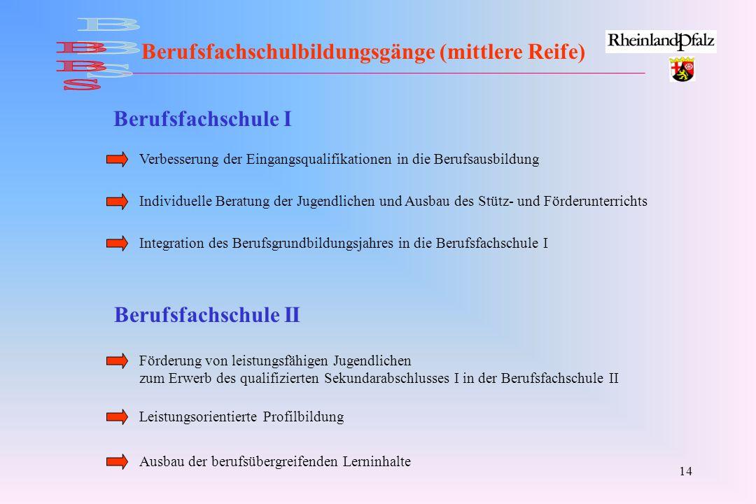 BBS Berufsfachschulbildungsgänge (mittlere Reife) Berufsfachschule I