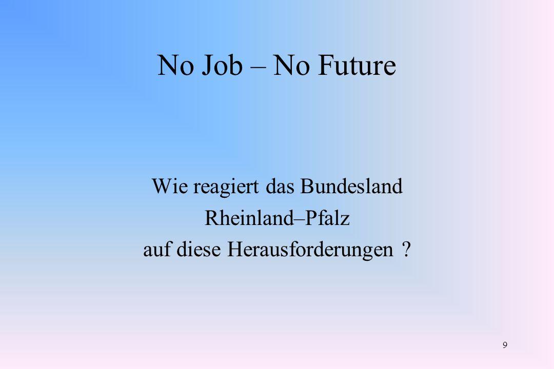No Job – No Future Wie reagiert das Bundesland Rheinland–Pfalz