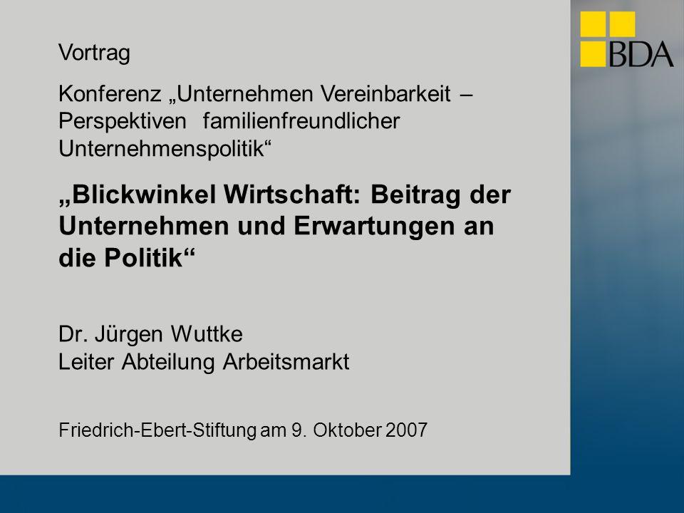 Dr. Jürgen Wuttke Leiter Abteilung Arbeitsmarkt