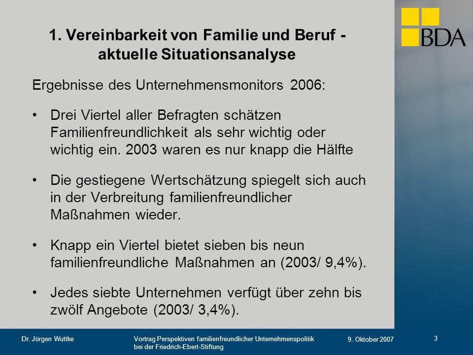 1. Vereinbarkeit von Familie und Beruf - aktuelle Situationsanalyse