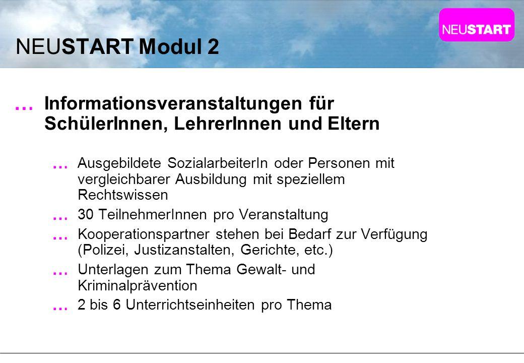NEUSTART Modul 2 Informationsveranstaltungen für SchülerInnen, LehrerInnen und Eltern.