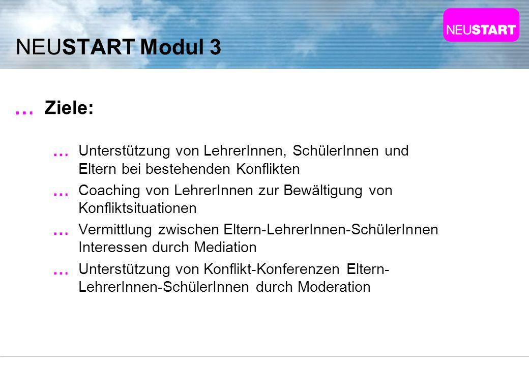 NEUSTART Modul 3 Ziele: Unterstützung von LehrerInnen, SchülerInnen und Eltern bei bestehenden Konflikten.