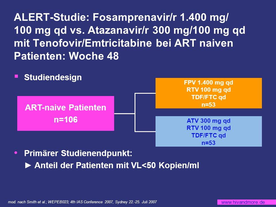 ALERT-Studie: Fosamprenavir/r 1. 400 mg/ 100 mg qd vs