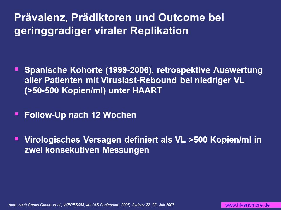 Prävalenz, Prädiktoren und Outcome bei geringgradiger viraler Replikation