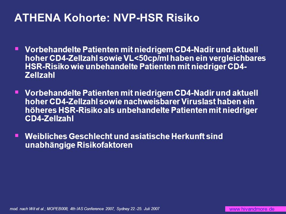 ATHENA Kohorte: NVP-HSR Risiko
