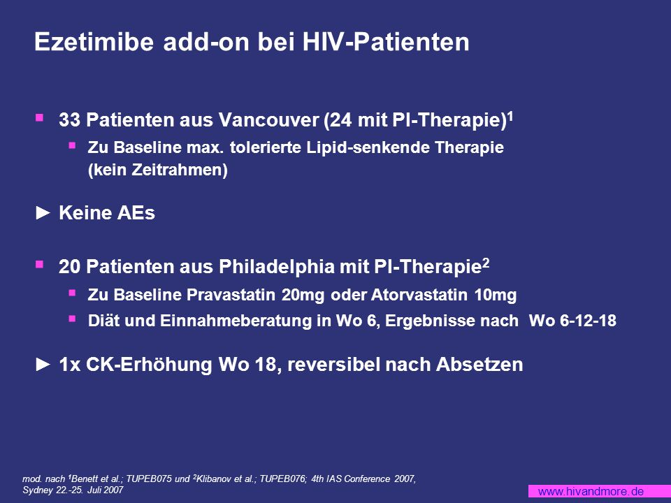 Ezetimibe add-on bei HIV-Patienten