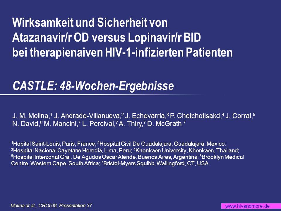 Wirksamkeit und Sicherheit von Atazanavir/r OD versus Lopinavir/r BID bei therapienaiven HIV-1-infizierten Patienten CASTLE: 48-Wochen-Ergebnisse