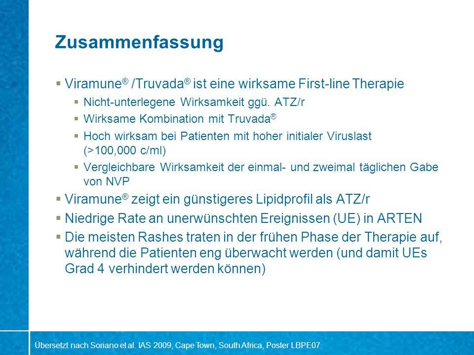 Zusammenfassung Viramune® /Truvada® ist eine wirksame First-line Therapie. Nicht-unterlegene Wirksamkeit ggü. ATZ/r.