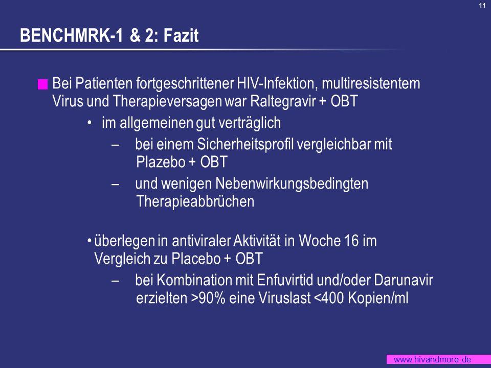 BENCHMRK-1 & 2: Fazit Bei Patienten fortgeschrittener HIV-Infektion, multiresistentem Virus und Therapieversagen war Raltegravir + OBT.