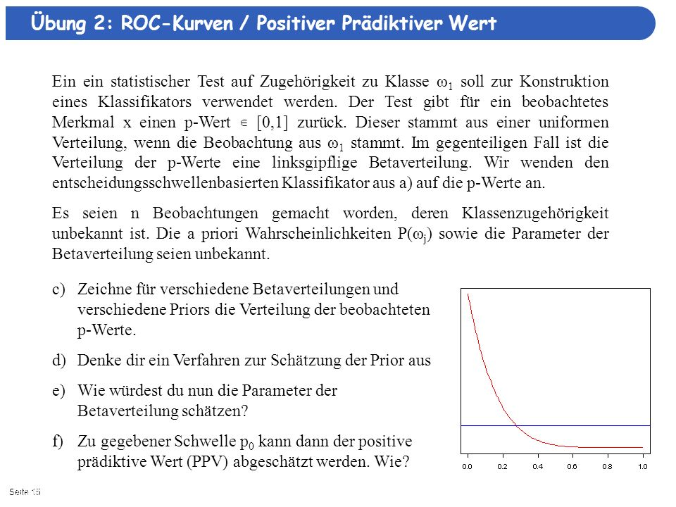 Übung 2: ROC-Kurven / Positiver Prädiktiver Wert