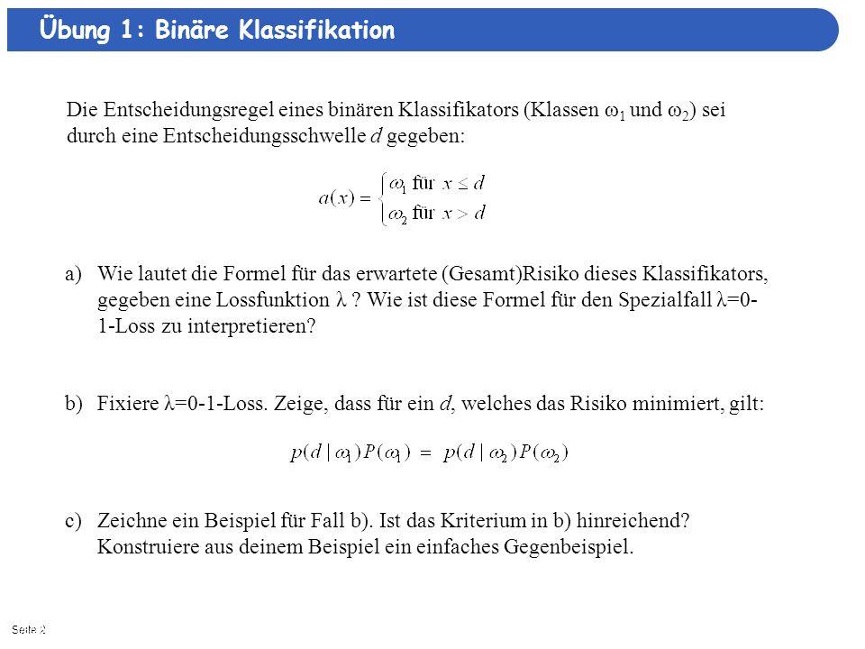 Übung 1: Binäre Klassifikation
