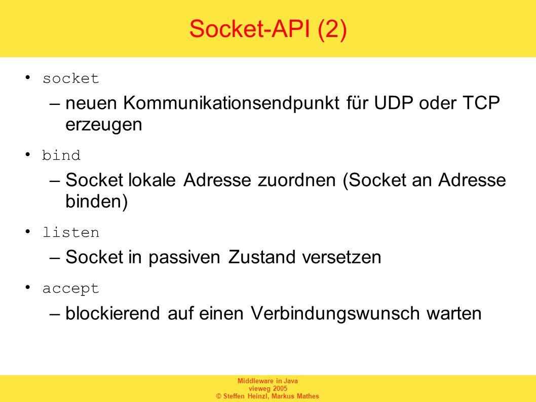 Socket-API (2) neuen Kommunikationsendpunkt für UDP oder TCP erzeugen