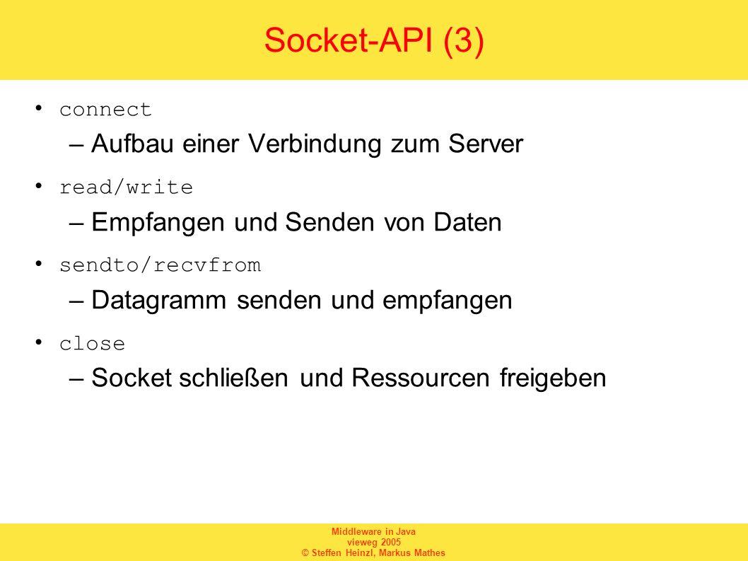 Socket-API (3) Aufbau einer Verbindung zum Server