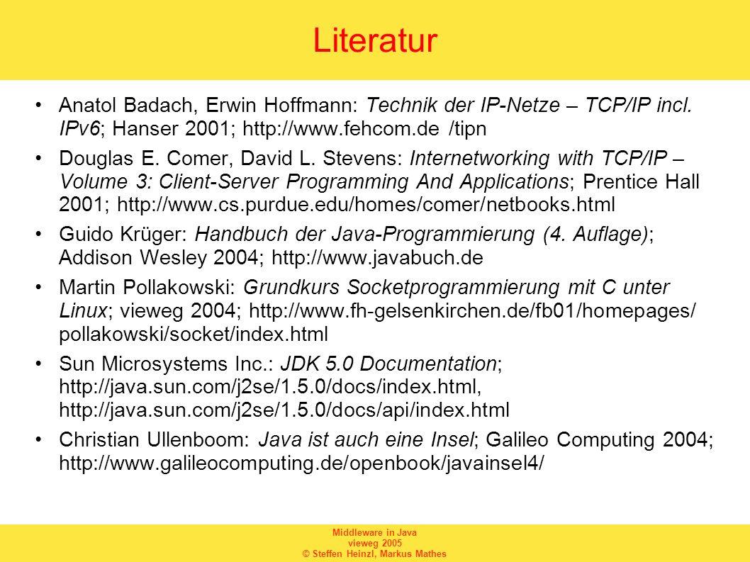 Literatur Anatol Badach, Erwin Hoffmann: Technik der IP-Netze – TCP/IP incl. IPv6; Hanser 2001; http://www.fehcom.de /tipn.
