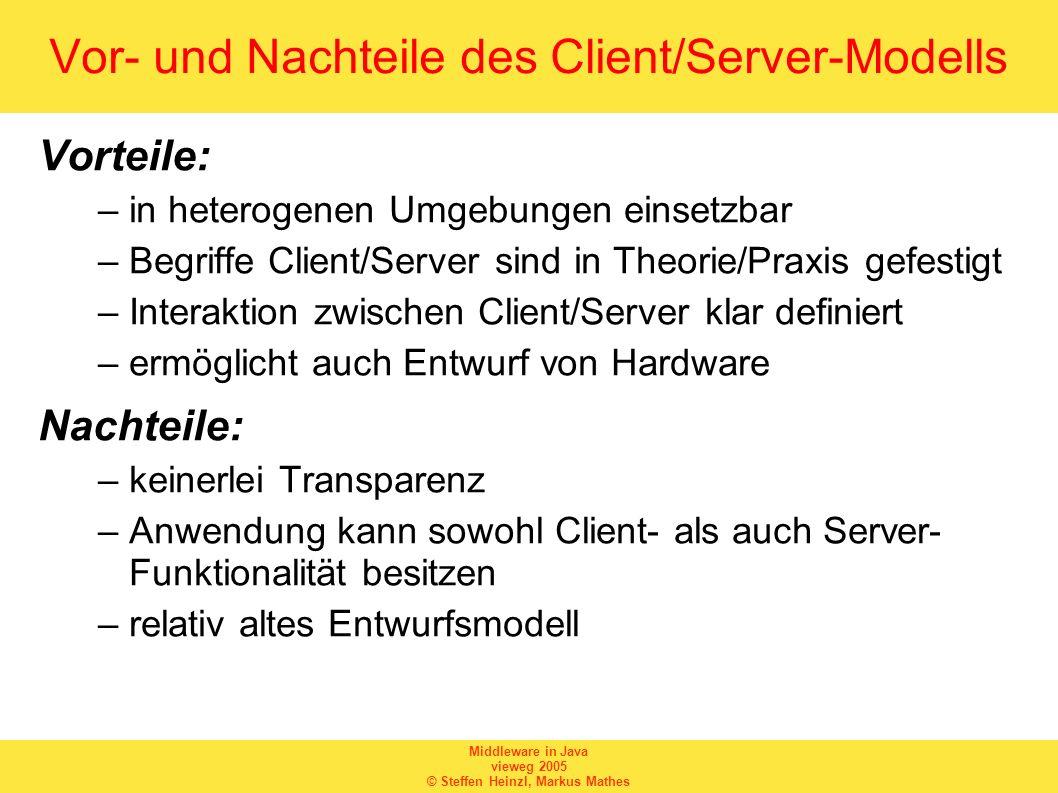 Vor- und Nachteile des Client/Server-Modells