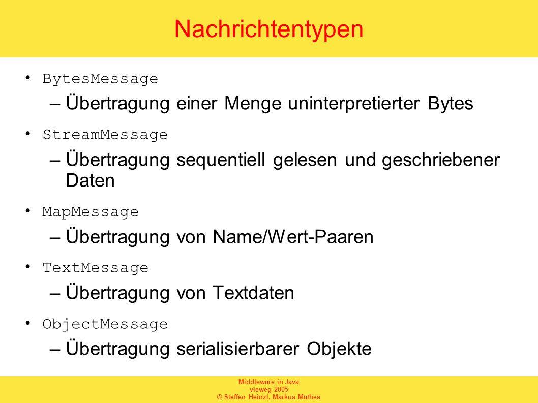 Nachrichtentypen Übertragung einer Menge uninterpretierter Bytes