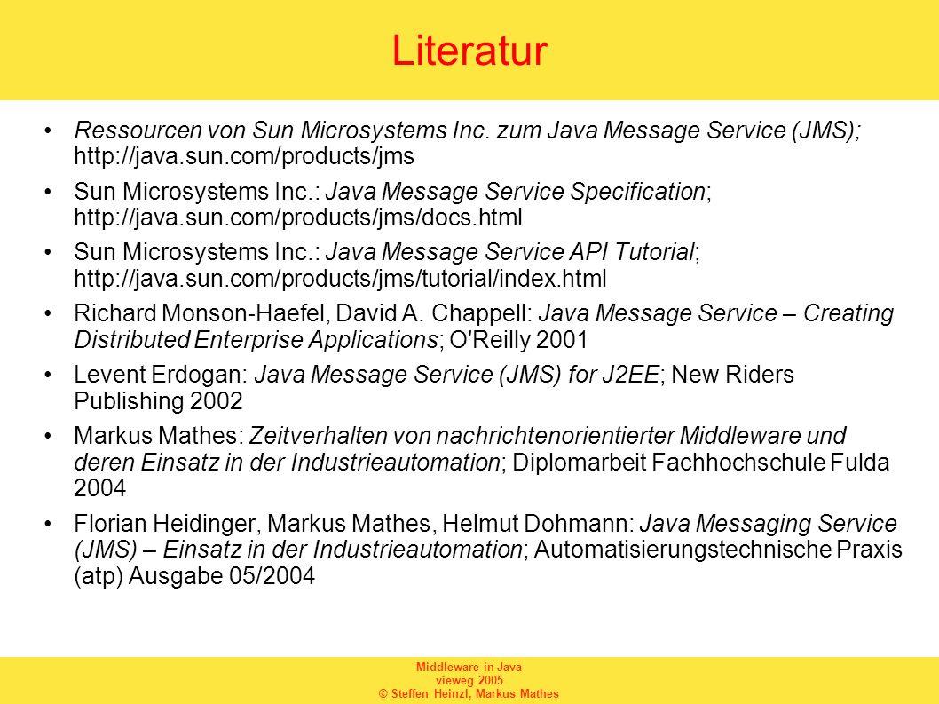Literatur Ressourcen von Sun Microsystems Inc. zum Java Message Service (JMS); http://java.sun.com/products/jms.