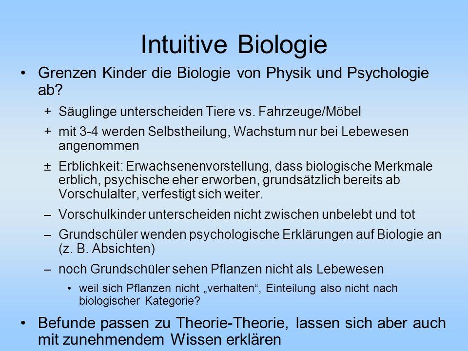 Intuitive Biologie Grenzen Kinder die Biologie von Physik und Psychologie ab Säuglinge unterscheiden Tiere vs. Fahrzeuge/Möbel.