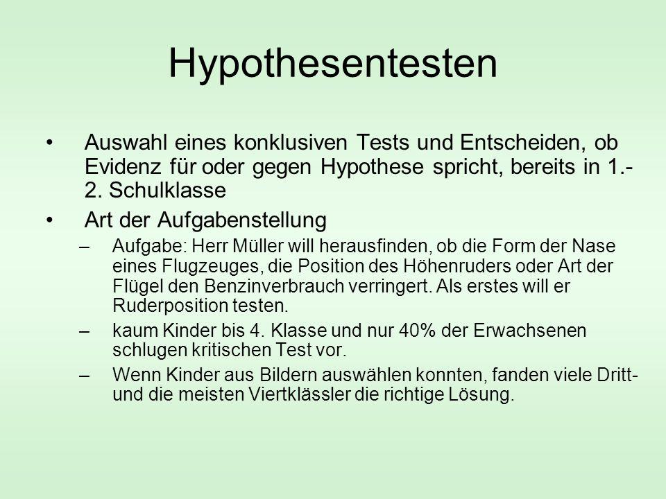 Hypothesentesten Auswahl eines konklusiven Tests und Entscheiden, ob Evidenz für oder gegen Hypothese spricht, bereits in 1.-2. Schulklasse.