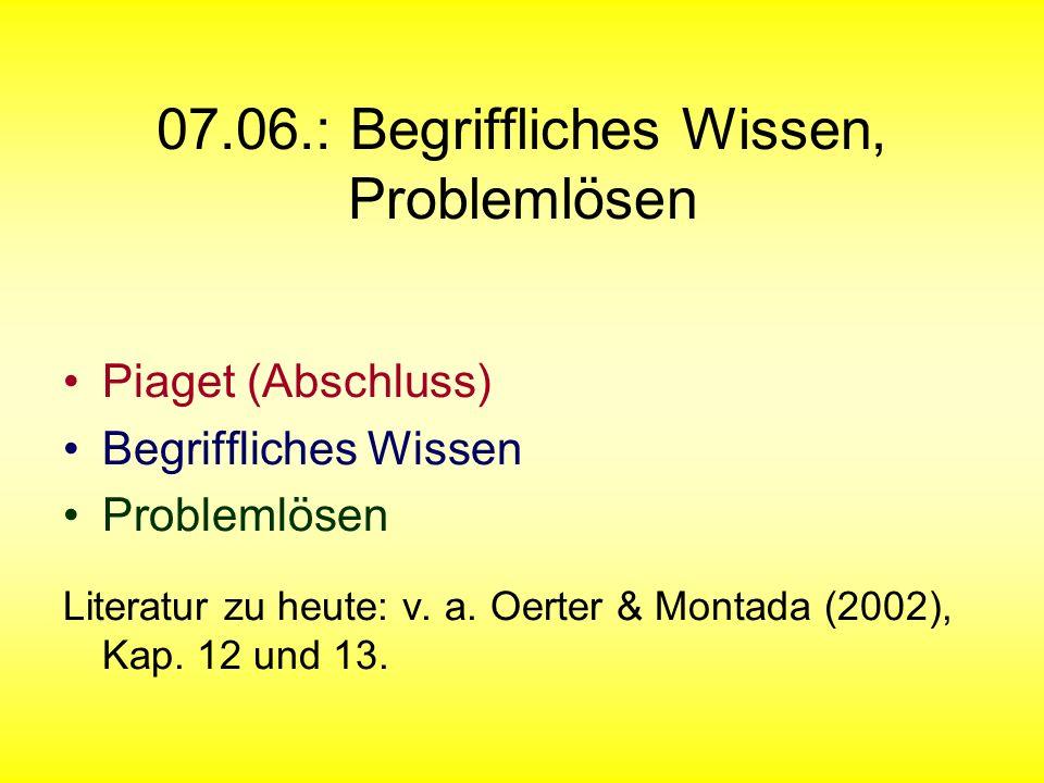 07.06.: Begriffliches Wissen, Problemlösen