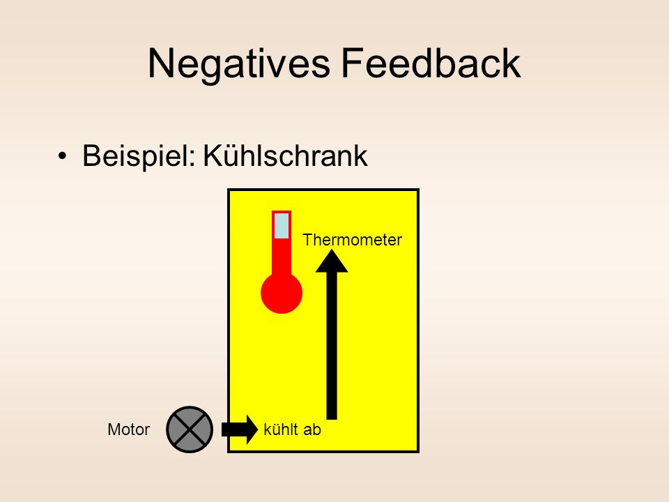 Negatives Feedback Beispiel: Kühlschrank Thermometer kühlt ab Motor