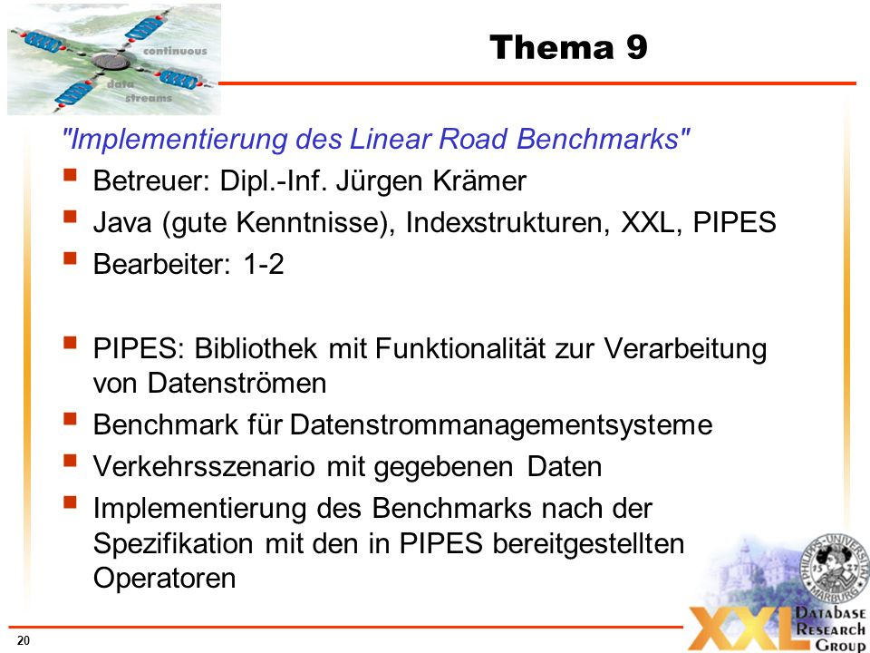 Thema 9 Implementierung des Linear Road Benchmarks