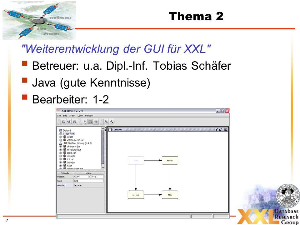 Thema 2 Weiterentwicklung der GUI für XXL Betreuer: u.a. Dipl.-Inf. Tobias Schäfer. Java (gute Kenntnisse)