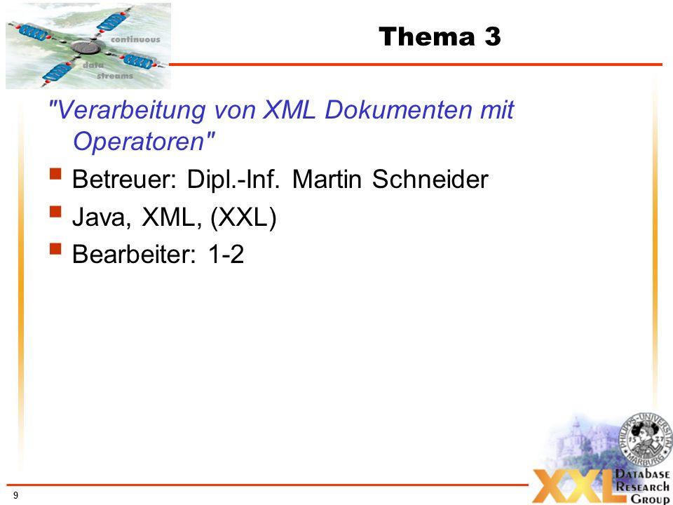 Verarbeitung von XML Dokumenten mit Operatoren