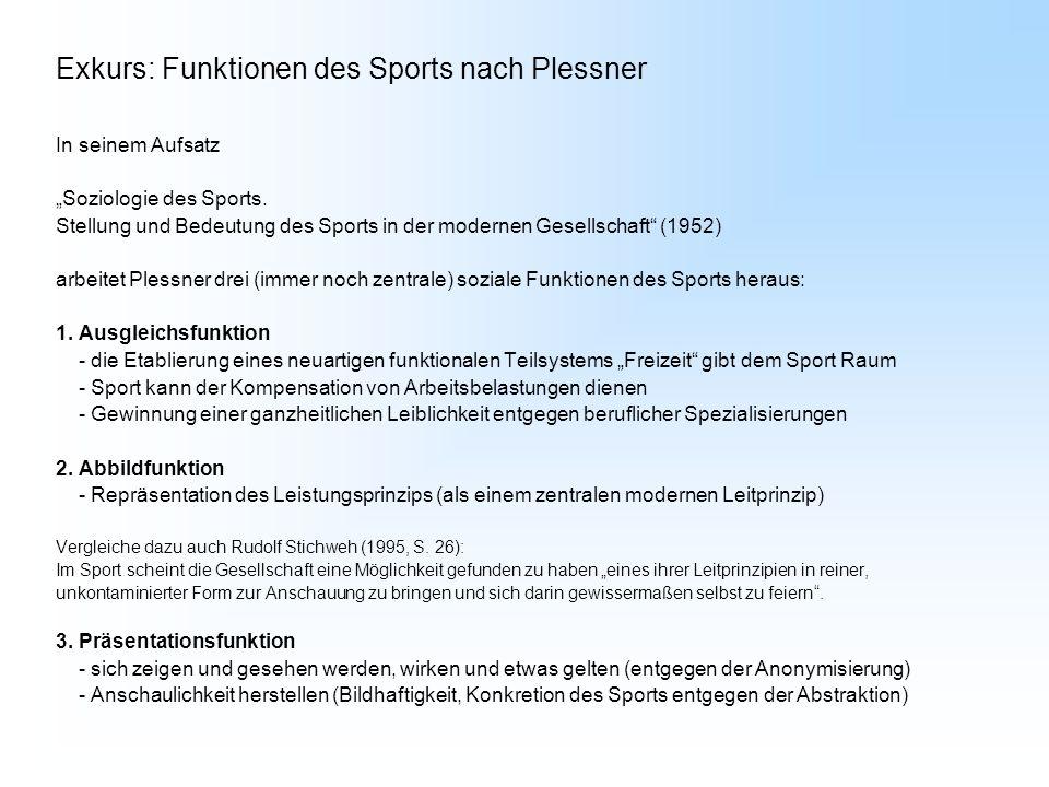 Exkurs: Funktionen des Sports nach Plessner