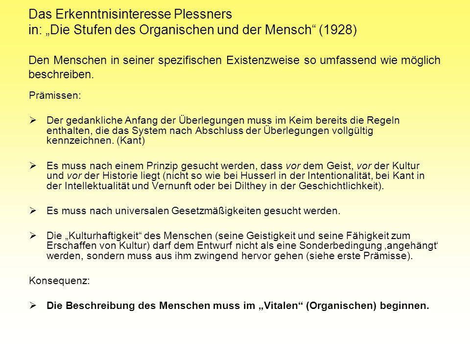 """Das Erkenntnisinteresse Plessners in: """"Die Stufen des Organischen und der Mensch (1928) Den Menschen in seiner spezifischen Existenzweise so umfassend wie möglich beschreiben."""