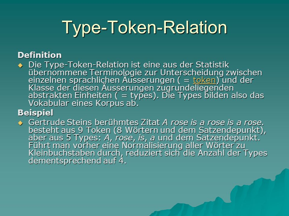 Type-Token-Relation Definition