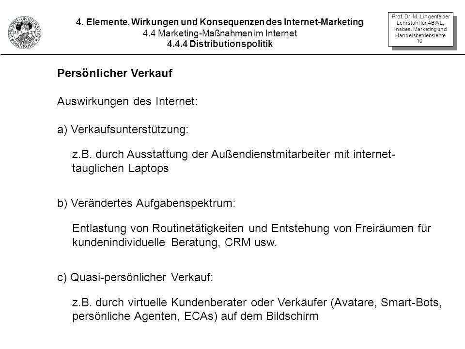 Auswirkungen des Internet: a) Verkaufsunterstützung: