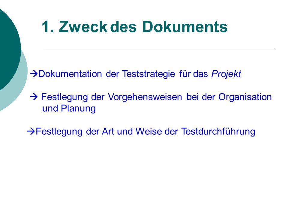1. Zweck des Dokuments Dokumentation der Teststrategie für das Projekt.  Festlegung der Vorgehensweisen bei der Organisation.