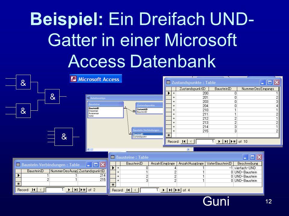 Beispiel: Ein Dreifach UND-Gatter in einer Microsoft Access Datenbank