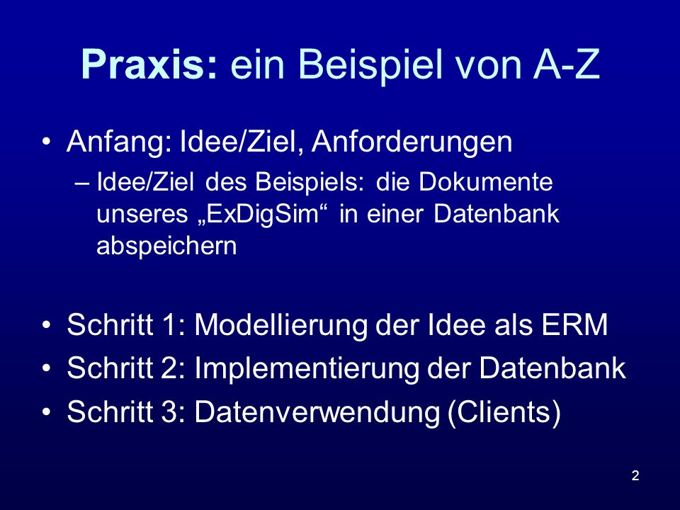 Praxis: ein Beispiel von A-Z