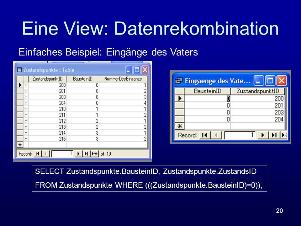Eine View: Datenrekombination
