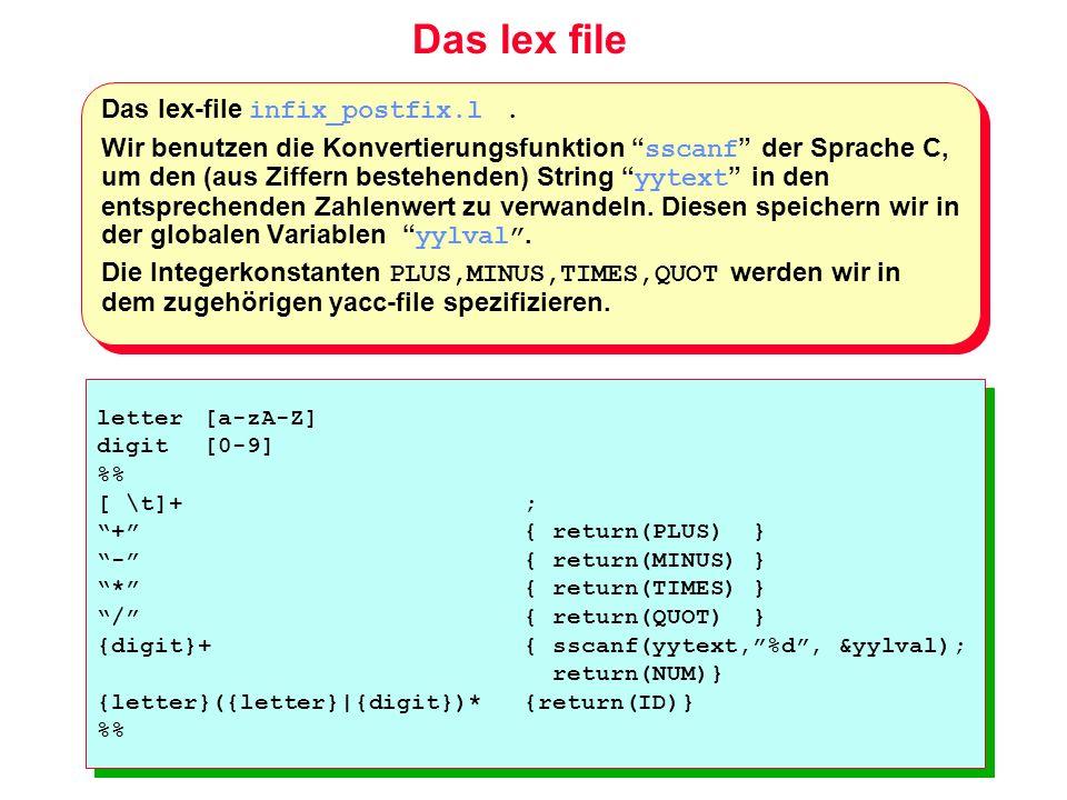 Das lex file Das lex-file infix_postfix.l .