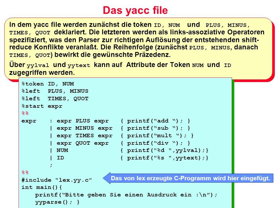 Das von lex erzeugte C-Programm wird hier eingefügt.