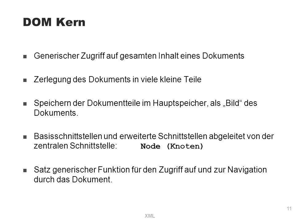 DOM Kern Generischer Zugriff auf gesamten Inhalt eines Dokuments