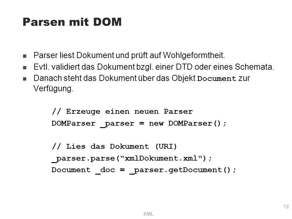 Parsen mit DOM Parser liest Dokument und prüft auf Wohlgeformtheit.