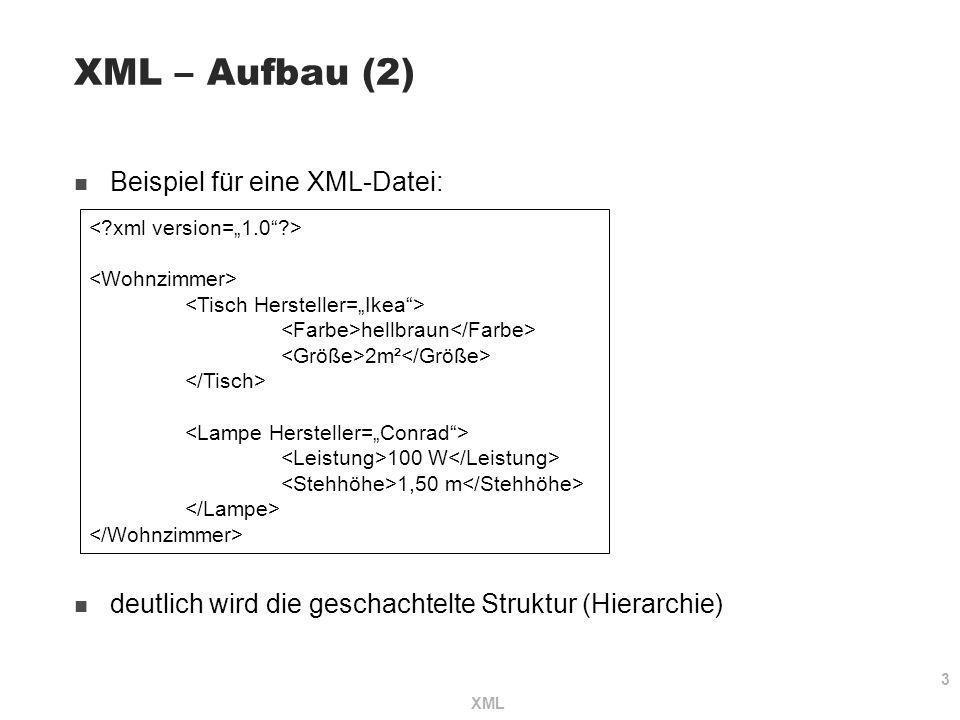 XML – Aufbau (2) Beispiel für eine XML-Datei: