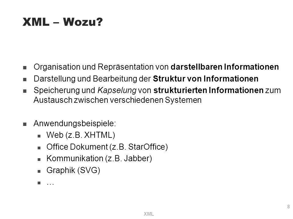 XML – Wozu Organisation und Repräsentation von darstellbaren Informationen. Darstellung und Bearbeitung der Struktur von Informationen.
